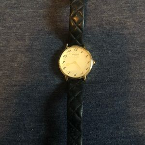Black quilted leather band kate Spade watch